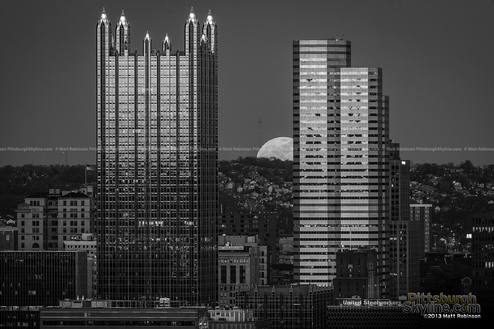 Black and White Pittsburgh Moonrise
