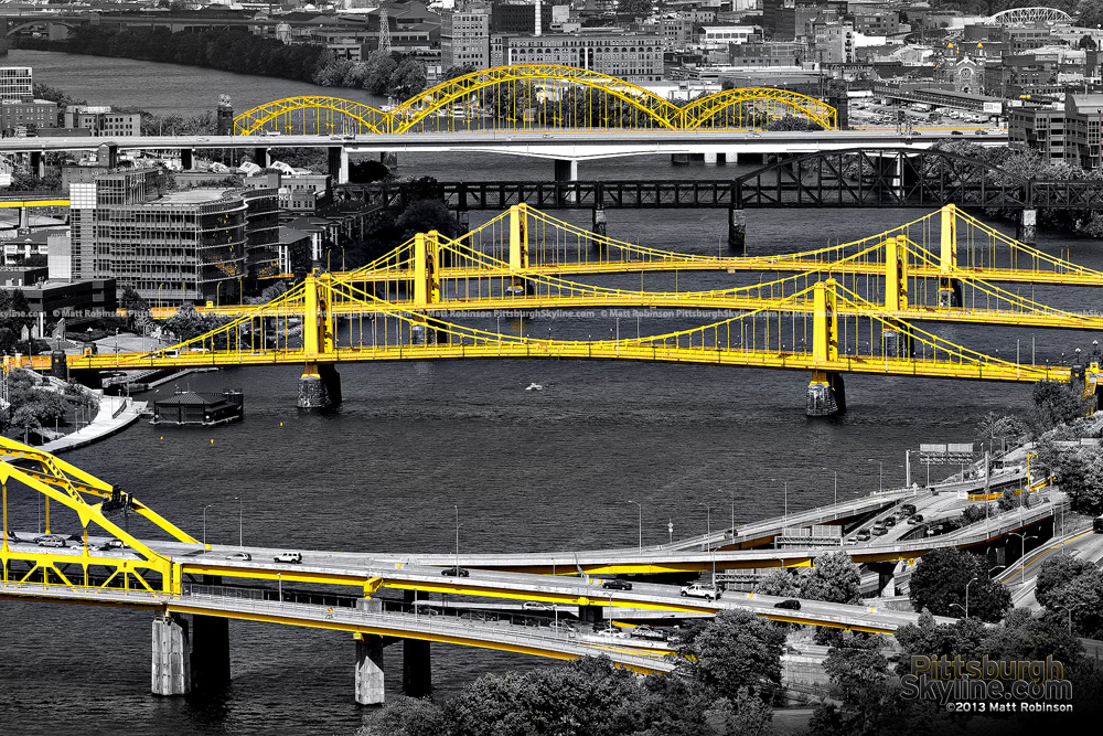 Black and White and Yellow Pittsburgh Bridges