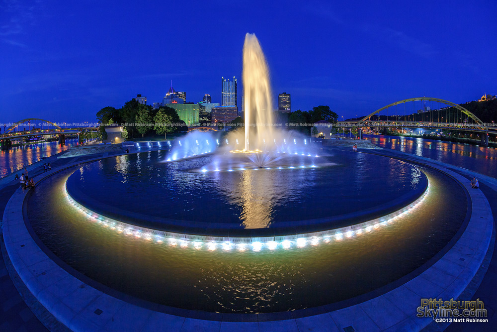 Elevated Dusk view of the Pittsburgh's fountain