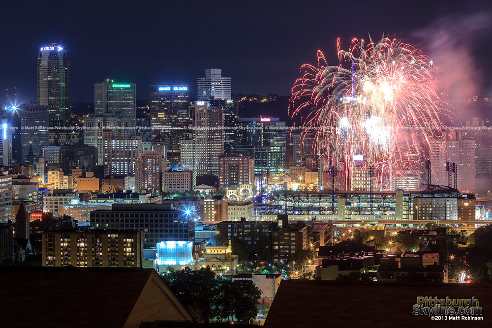 PNC Park Fireworks night from the North Side
