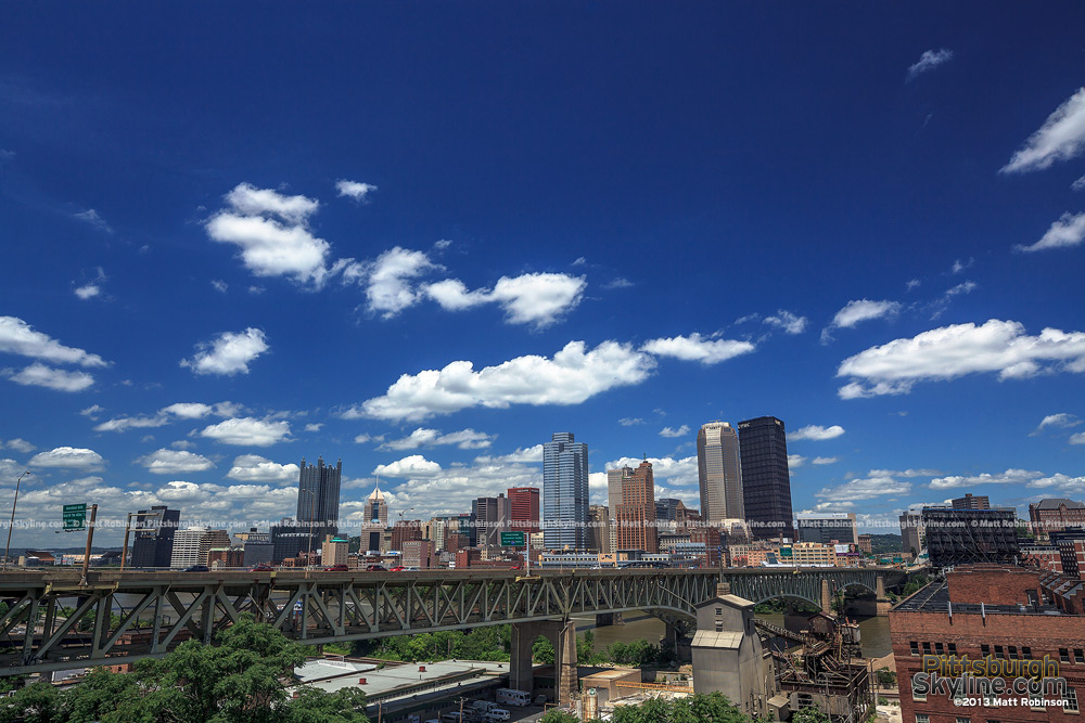 Blue skies and clouds over downtown Pittsburgh