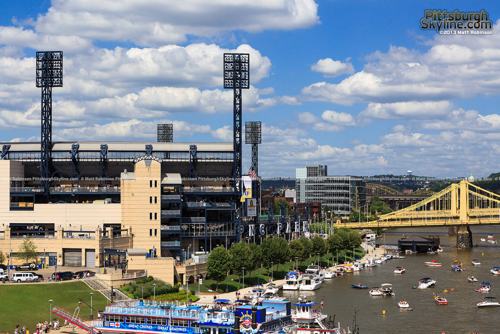 PNC Park with boats in the Allegheny from the Fort Duquesne Bridge