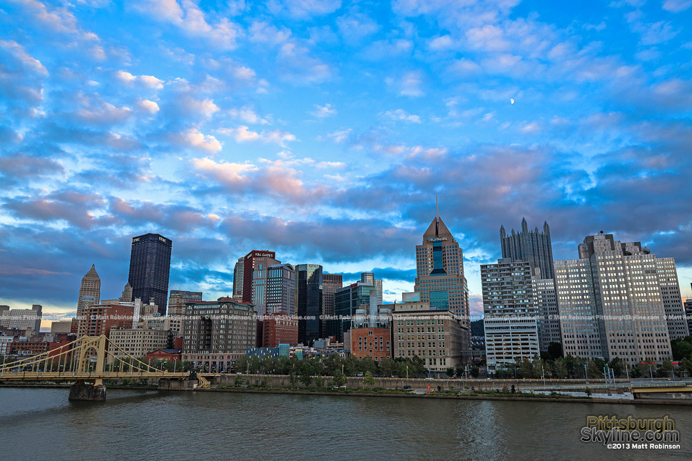Pink and blue skies over downtown Pittsburgh