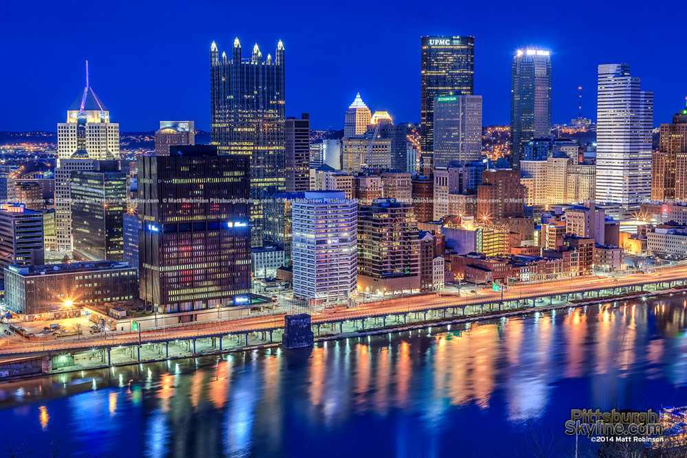 Pittsburgh Skyline at night from upper PJ McArdle Roadway