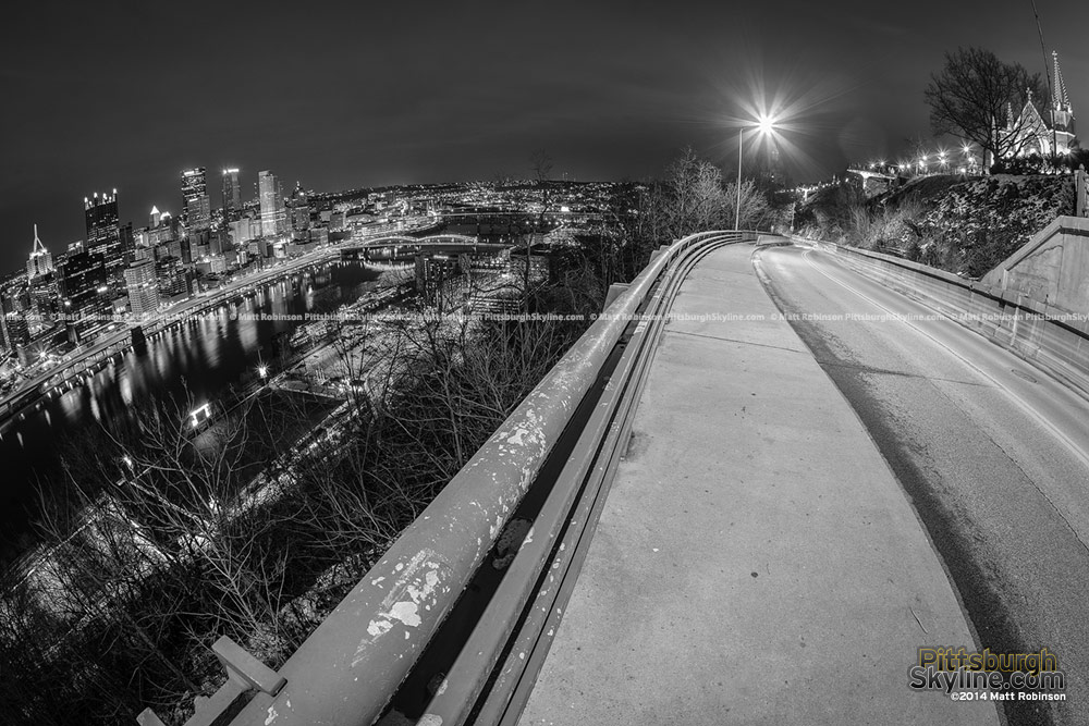 Pittsburgh Skyline with PJ McArdle Road - black and white