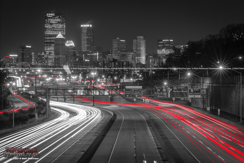 Black and White and Red Pittsburgh Traffic with skyline