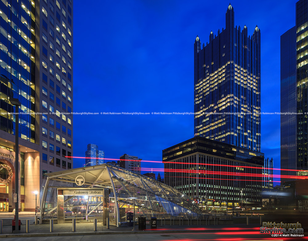 PPG Place at night with Gateway Station