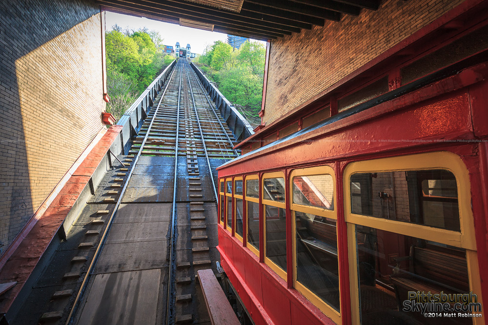 Inside the lower station of the Duquesne Incline with car