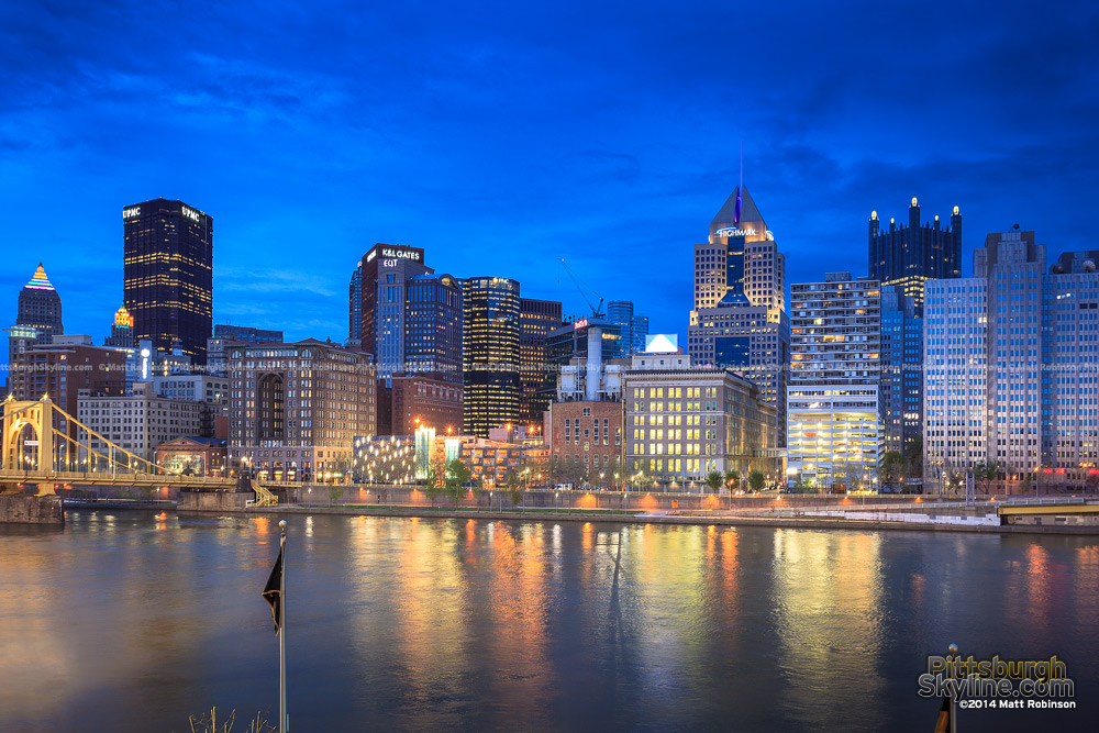 Pittsburgh skyline at magic hour from PNC Park