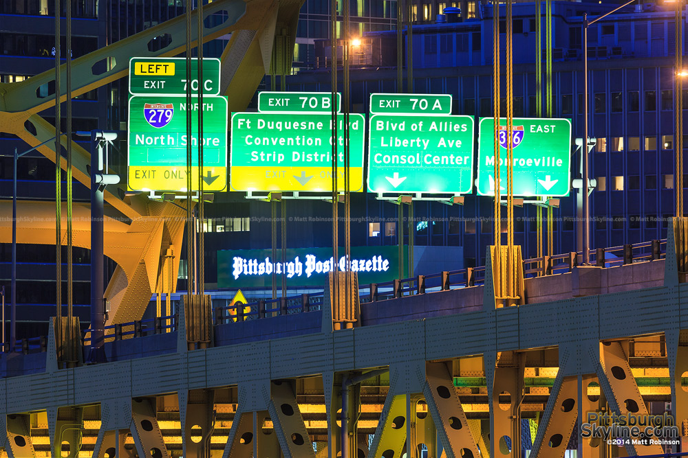 Pittsburgh highway interstate signs on the Fort Pitt Bridge
