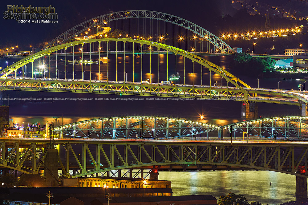 The Liberty Bridge, Panhandle Bridge, Smithfield Street Bridge, Fort Pitt Bridge over the Monongahela River into downtown Pittsburgh. The West End Bridge over the Ohio.