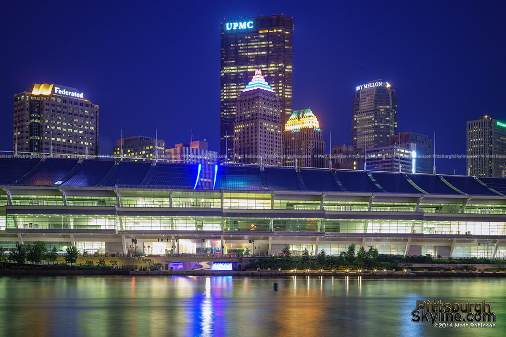 US Steel Tower and Gulf Building at night with the Convention Center