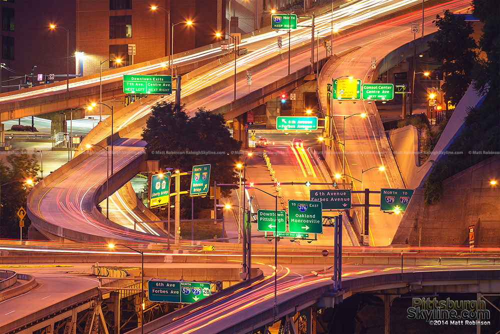 Cluster of highway signs and interchanges in Pittsburgh