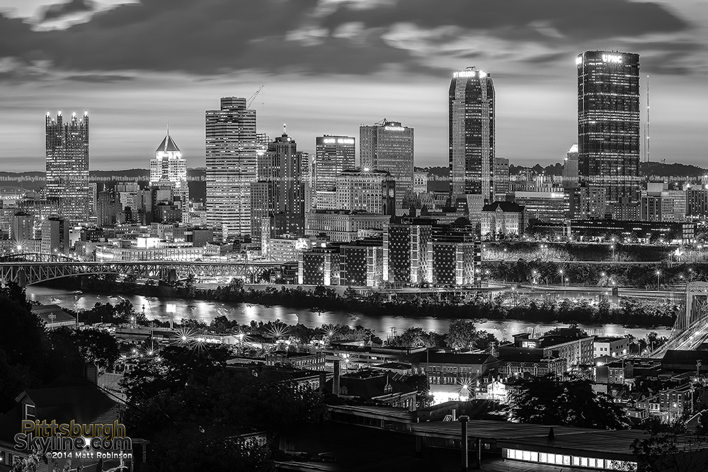 Pittsburgh skyline in black and white 2014