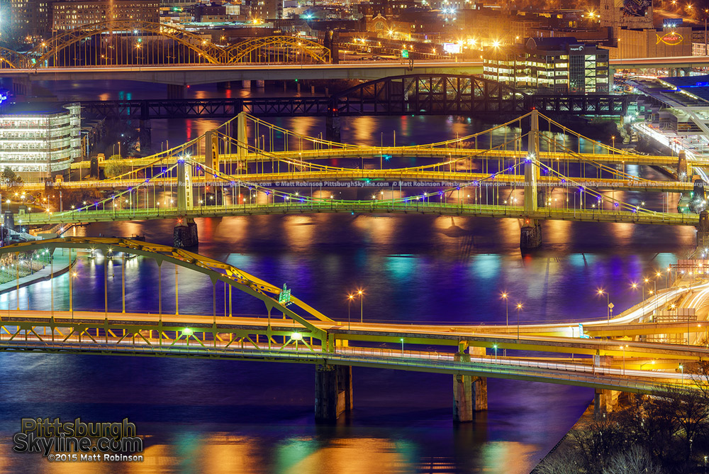 Bridges over the Allegheny River at night