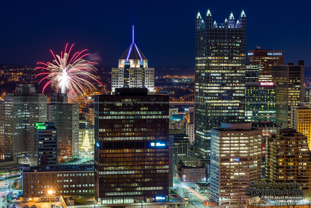 Fireworks at New Years over Pittsburgh