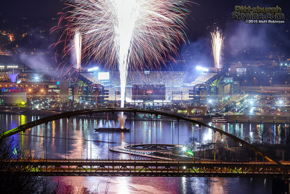Fireworks blast off from Heinz Field and the confluence at the start of a Steelers playoff game