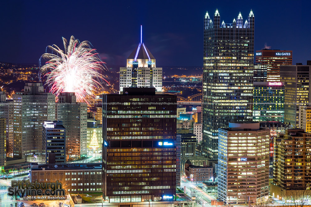 Fireworks over the Pittsburgh Skyline