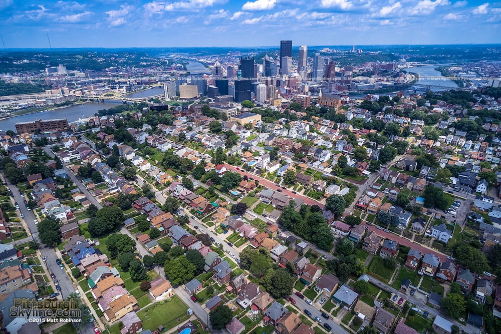 Pittsburgh aerial over the Mt. Washington neighborhood with the skyline