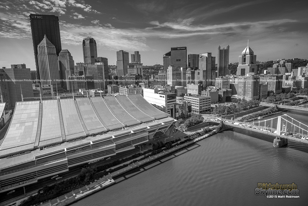 Black and White downtown Pittsburgh Aerial