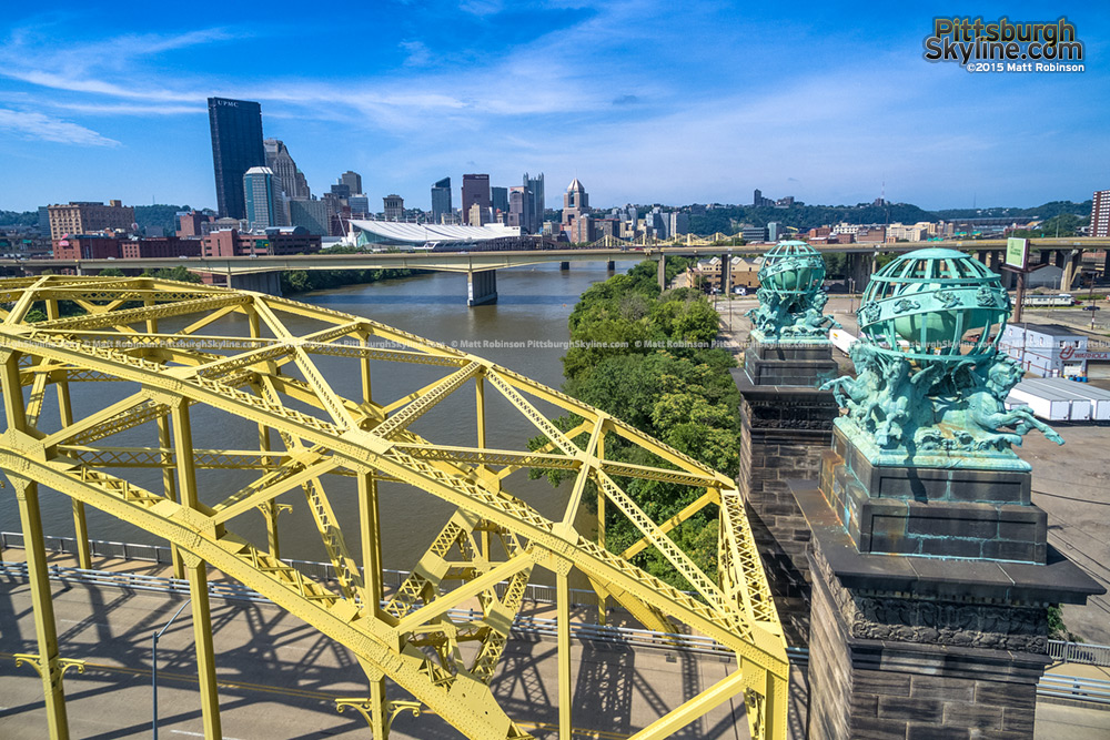 The 16th Street Bridge Aerial with downtown Pittsburgh
