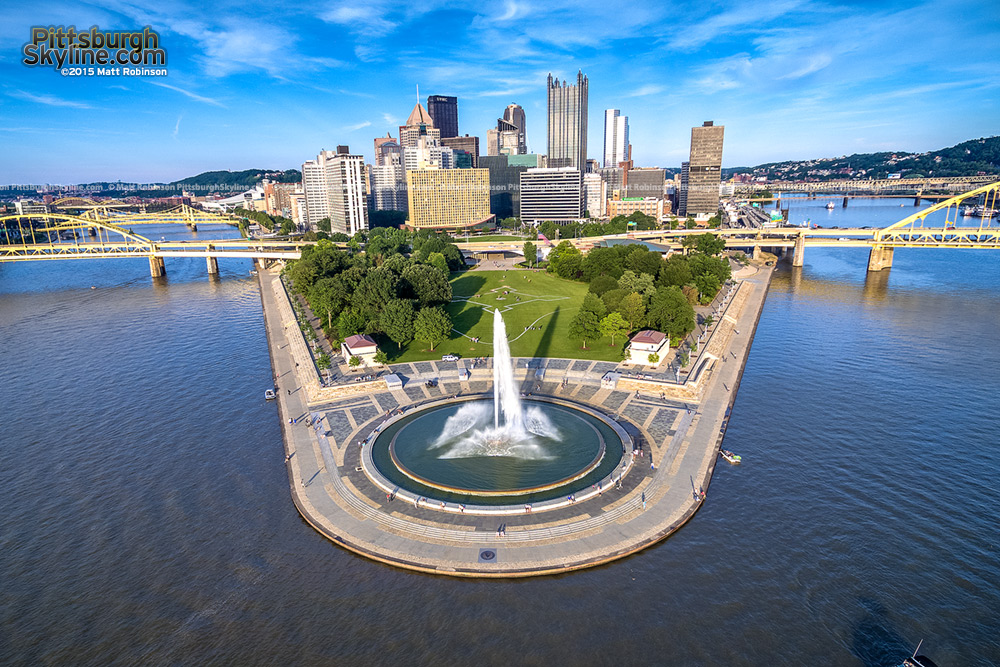 Downtown Pittsburgh Three Rivers Aerial Summer 2015