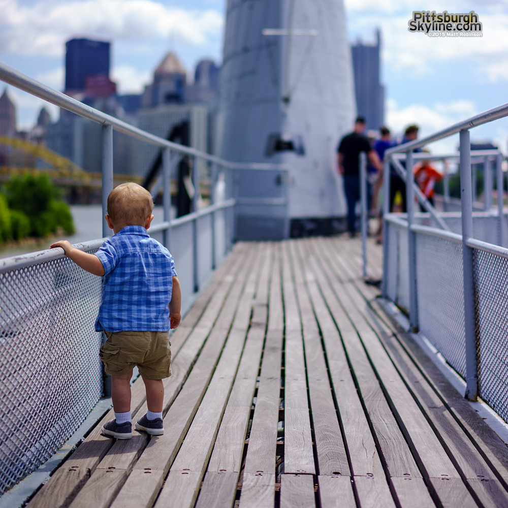 Baby Oliver checks out the USS Requin