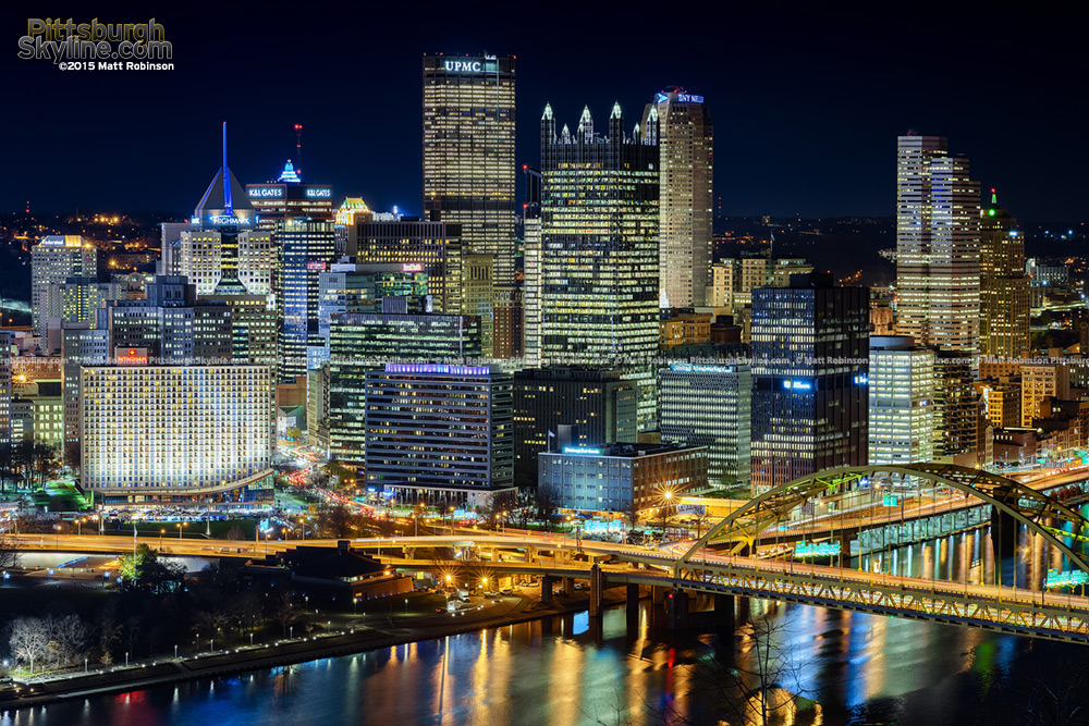 Downtown Pittsburgh Cityscape on Light Up Night 2015