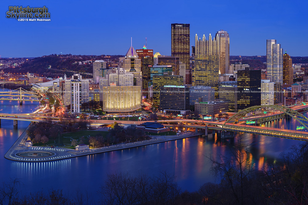 Pittsburgh at dusk Light Up Night 2015