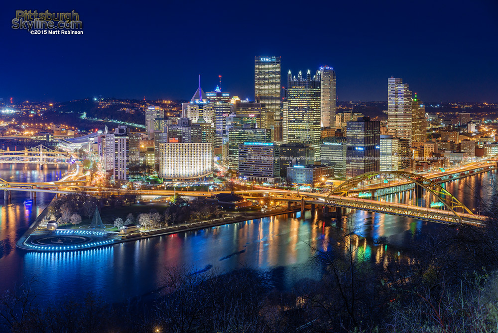 Downtown Pittsburgh lit up for Light Up Night 2015