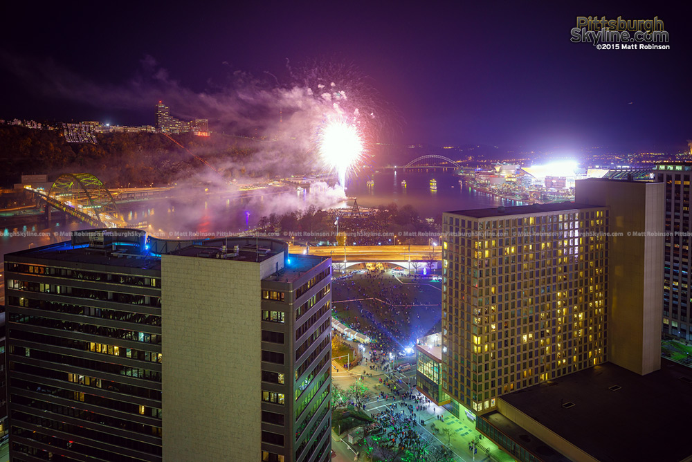 Fireworks from Gateway Center Pittsburgh