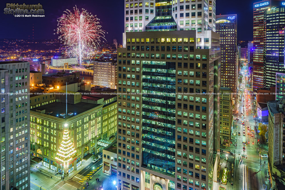 Fireworks from the Andy Warhol Bridge with Fifth Avenue Place and Horne's Christmas Tree