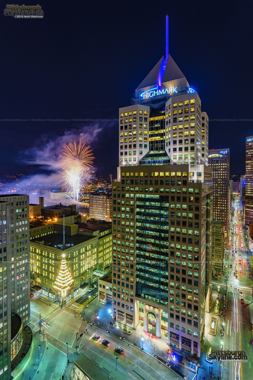 Fifth Aveneue Place Highmark Building with Fireworks on Light up night from Gateway Center Four