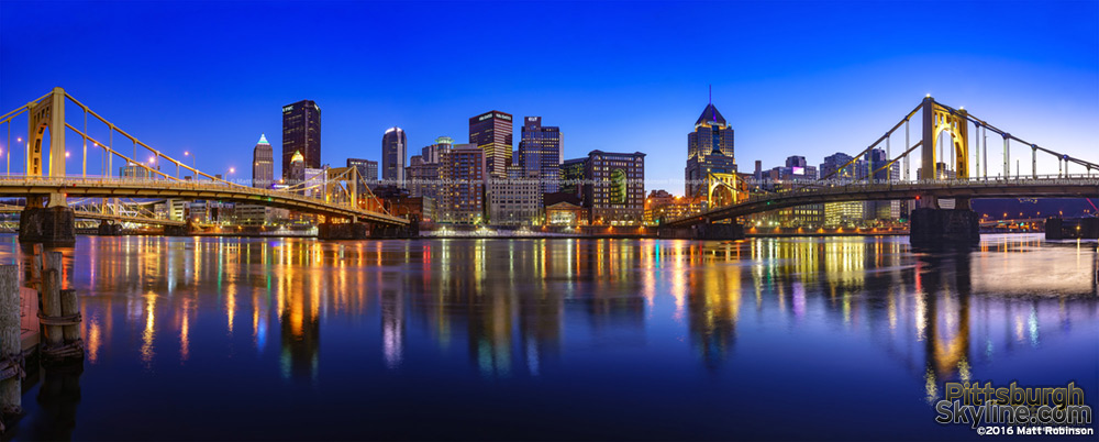 Allegheny River Reflects the Pittsburgh Skyline from the North Shore