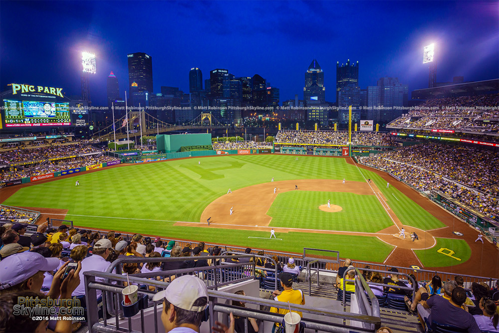 Night game at PNC Park with Pittsburgh Skyline