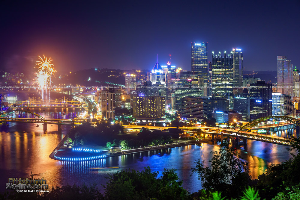 Downtown Pittsburgh at night with Fireworks 2016