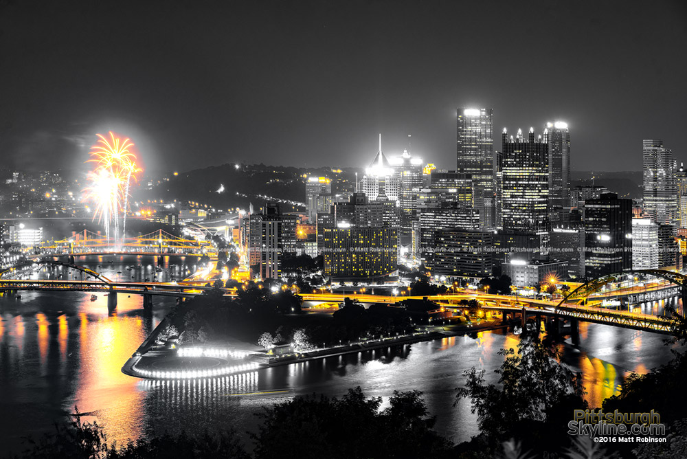 Pittsburgh Black and Gold at night with Fireworks