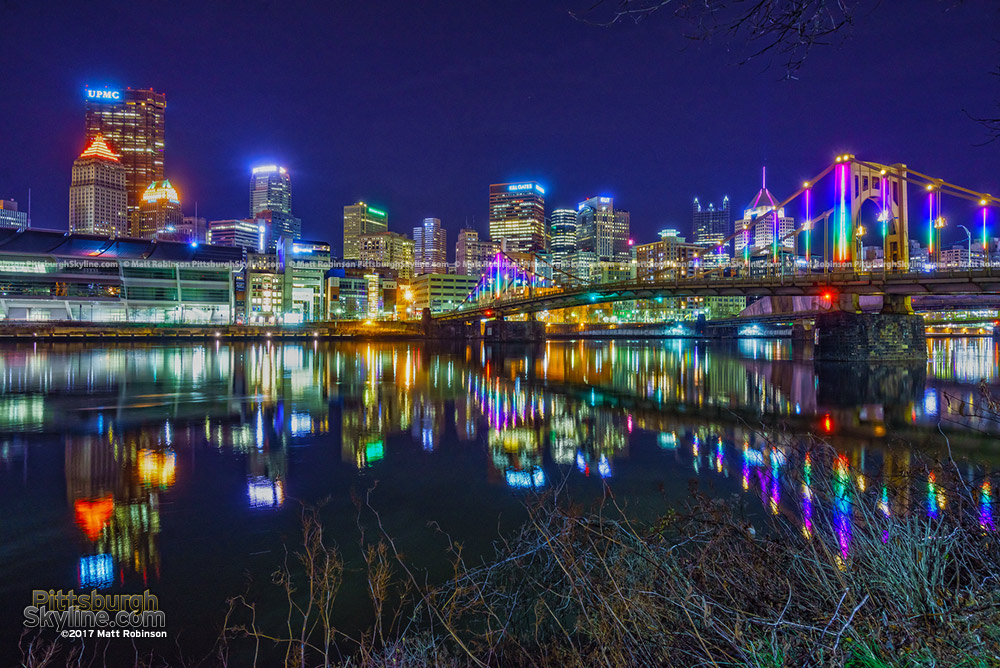 Downtown Pittsburgh with the Energy Flow lights