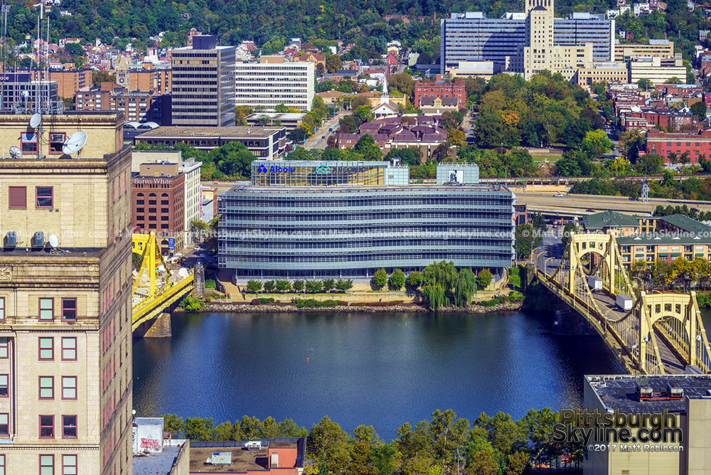 Alcoa Corporate Center and the Allegheny River from the Oliver Building