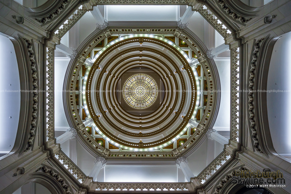 Looking up inside the Union Trust Building Rotunda dome