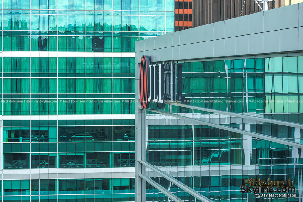 Green Tinted windows of 3 PNC Plaza and the JLL Center