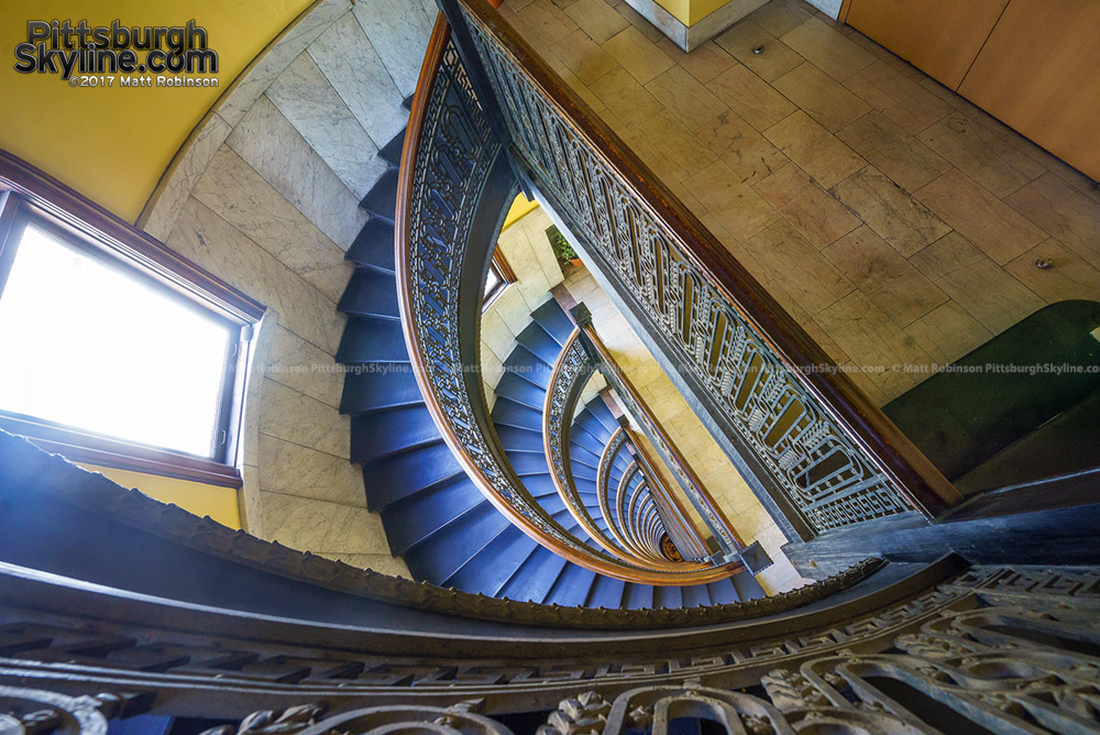 Looking down at the spiral staircase in The Bank Tower in Pittsburgh