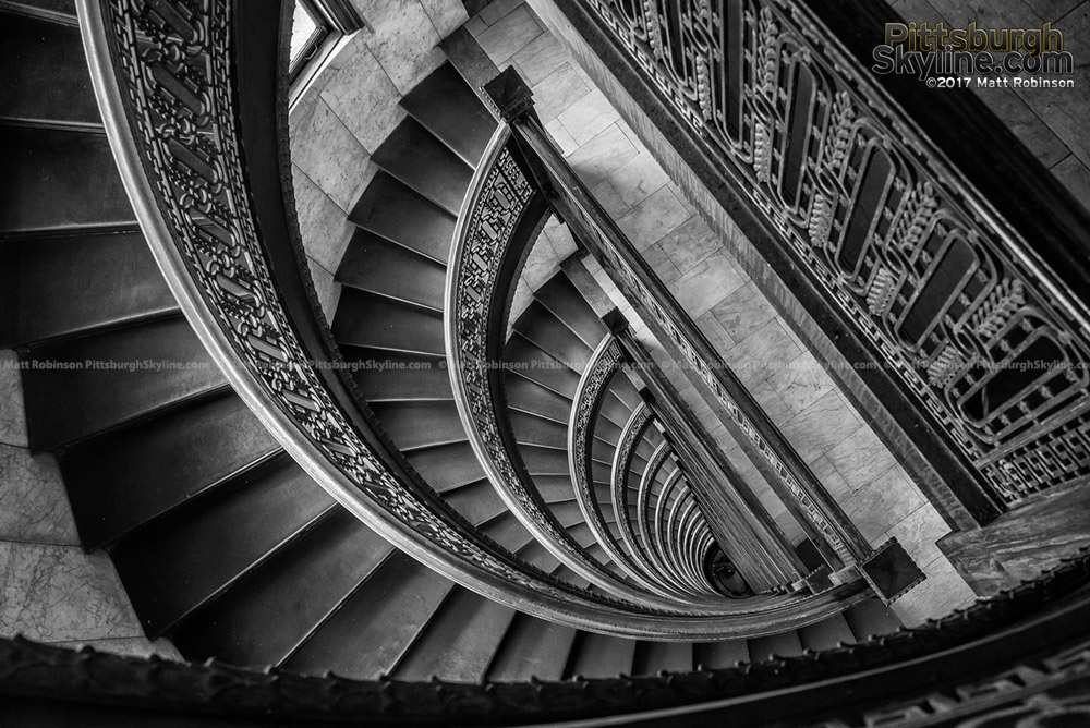 Black and White spiral staircase in The Bank Tower in Pittsburgh