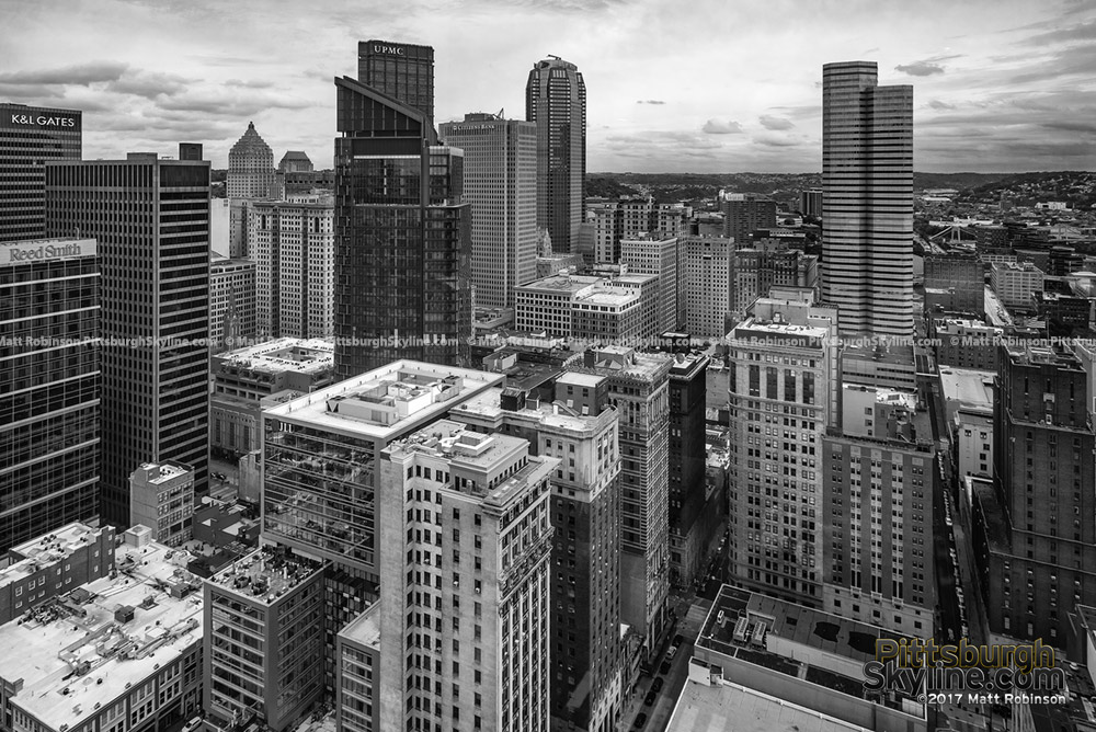 Black and White Downtown Pittsburgh from PPG Place