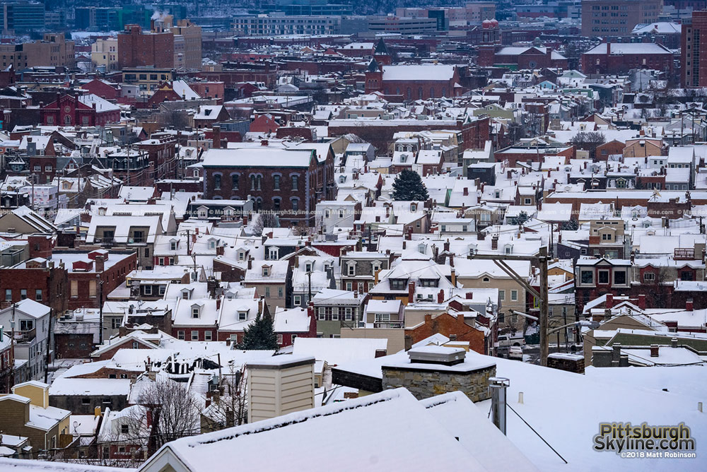 Snow covered rooftops on the South Side in Pittsburgh