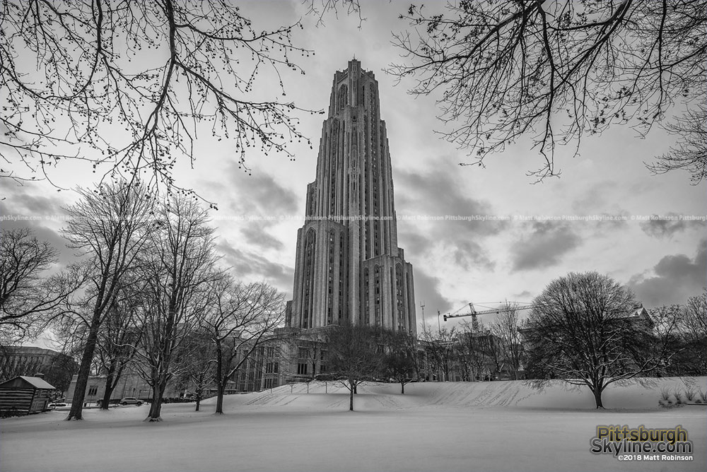 Black and White Cathedral of Learning in the snow