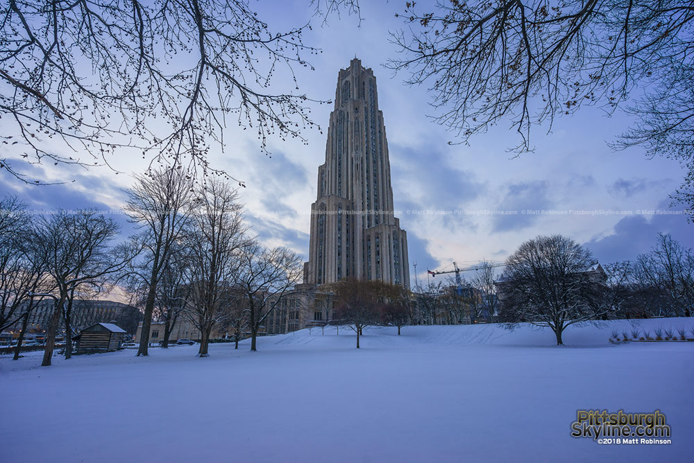 Cathedral of Learning with snow
