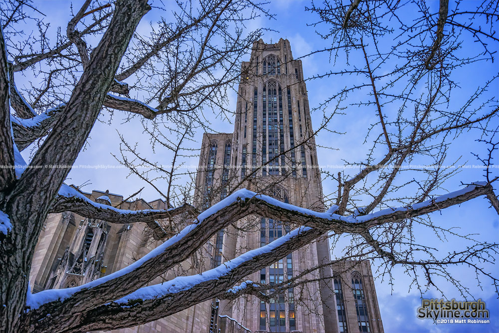 Pitt's Cathedral of Learning snow