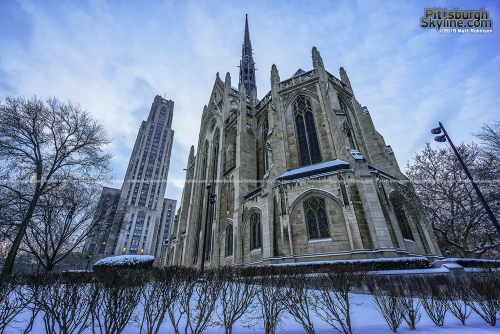Heinz Chapel with Cathedral of Learning in the snow