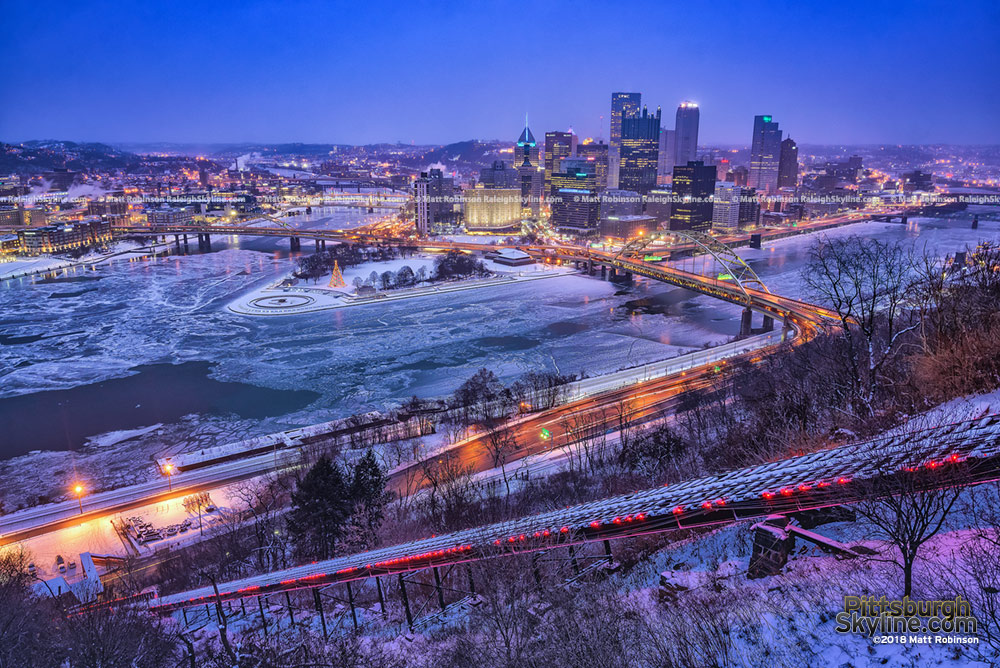 Frozen Three Rivers with the Pittsburgh Skyline